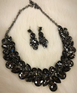 """"""" Carie """" Crystal Statement Necklace Set ( Charcoal )"""