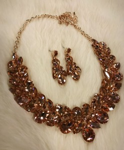 """"""" Carie """" Crystal Statement Necklace Set ( Rose Gold )"""