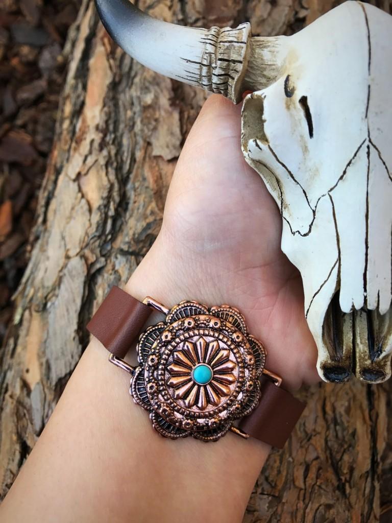 leather concho bracelet