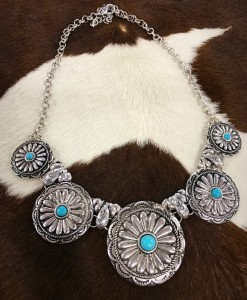 """ Ally "" Floral Concho Necklace"
