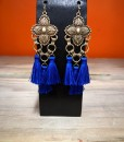 Floral Embossed & Tassel Earrings ( Royal Blue )