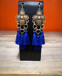 Floral Embossed & Tassel Earrings ( Royal Blue )