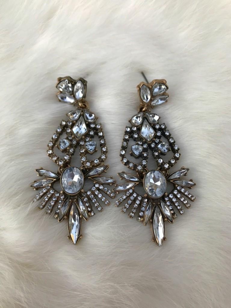 """"""" Gaga """" Crystal Earrings ( Silver )"""