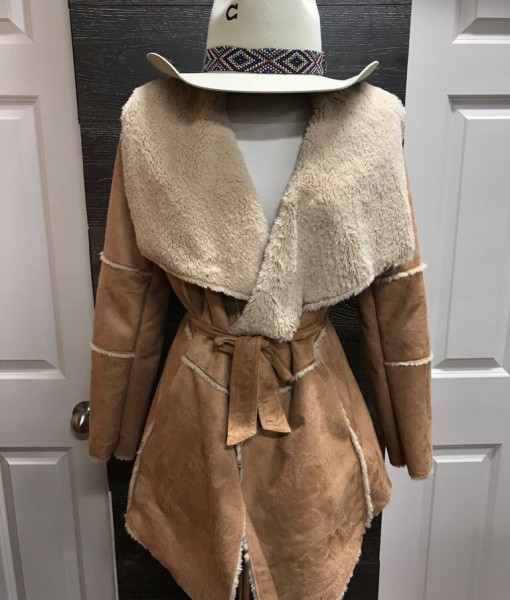 WOMENS FAUX SHEARLING WOOL JAKCET WITH BELT
