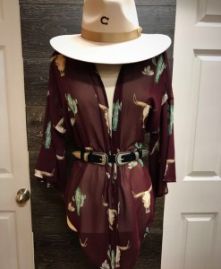 bull & cactus kimono