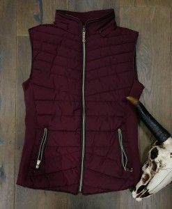 """ Be Cool "" Detachable Hood  Vest ( Burgundy )"