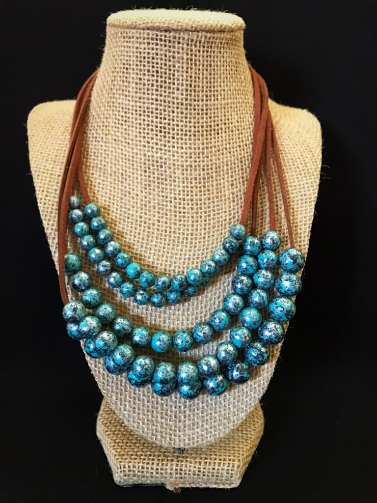 """ Susie "" Turquoise & Leather Layered Necklace"