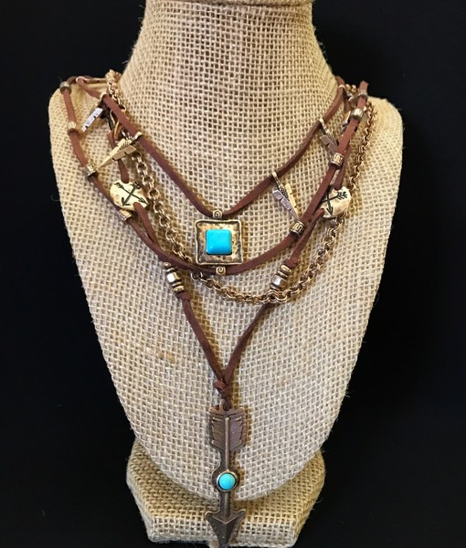""" Arrow Junkie "" Leather & Turquoise Necklace"
