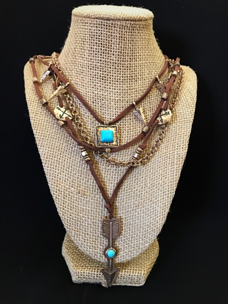 """"""" Arrow Junkie """" Leather & Turquoise Necklace"""