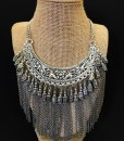 Floral & Chain Fringe Necklace ( SILVER )