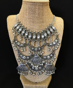 """ Ancient "" Silver & Crystal Necklace Set"