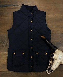 """ Saddle Up "" Quilted Pocket Vest ( Navy Blue )"