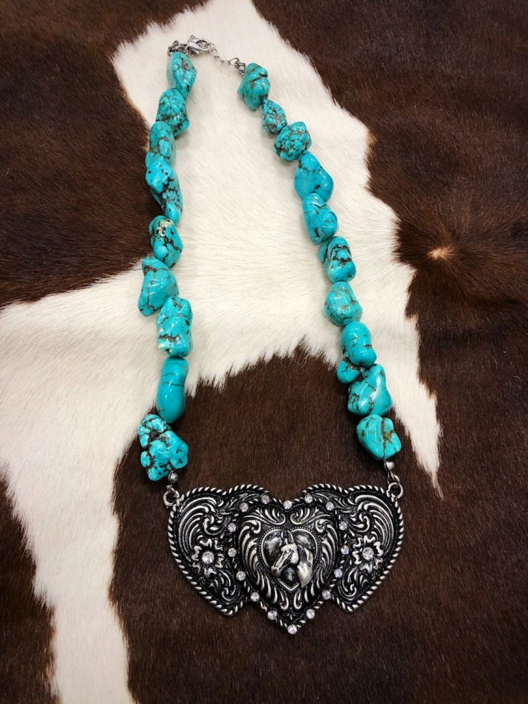 TURQUOISE HEART AND HORSE HEAD NECKLACE