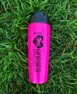 """ I LOVE HORSES "" Sports Bottle Stainless Steel ( Hot Pink 0"