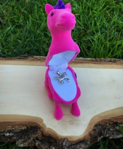 horse necklace with pink horse box