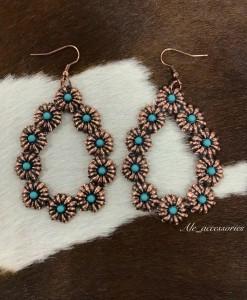 turquoise & Copper teardrop earrings
