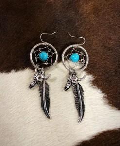 Dream Catcher & Bull Skull Charm Earrings ( Silver / Turquoise )