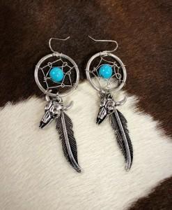 dream catcher & Bull skull charm earrings