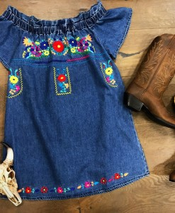 Colorful Embroidery & Denim Off the Shoulder Dress