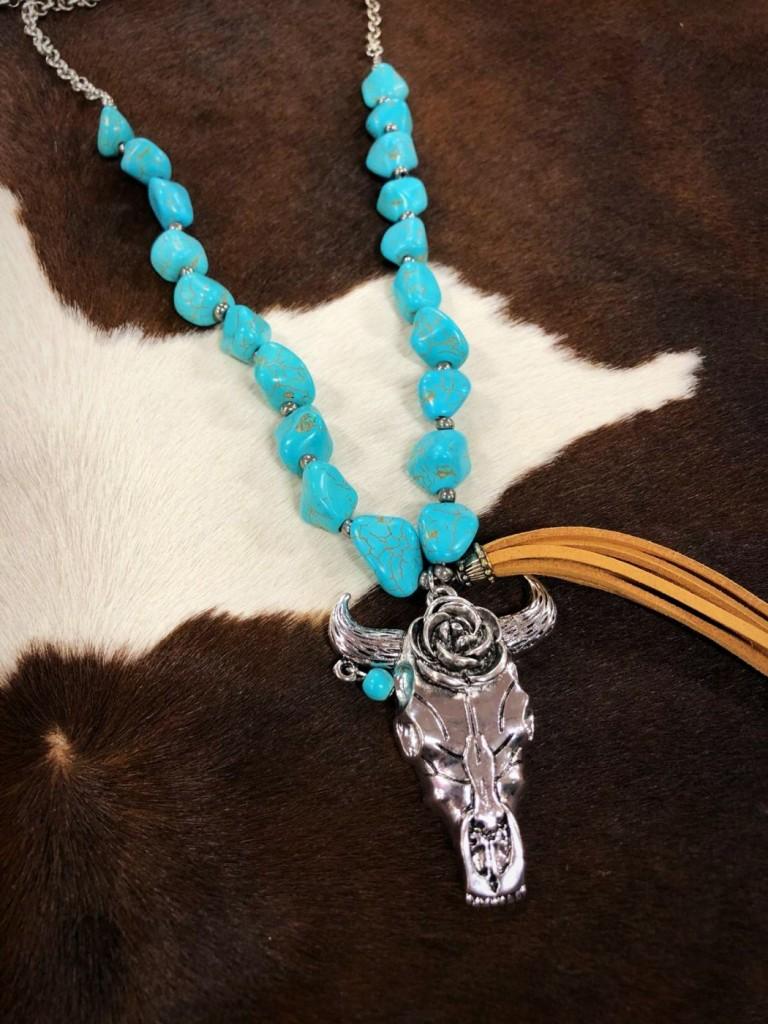 Turquoise Stone & Boho Bull Skull Tassel Necklace