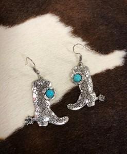 Embossed Western Boot Earrings ( Silver / Turquoise )