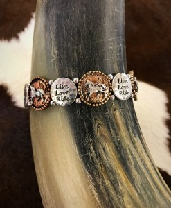 live love ride horse stretch bracelet
