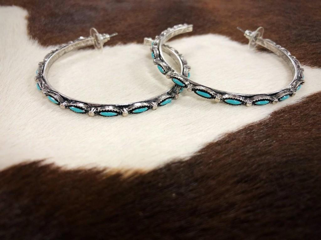Turquoise & Antique Silver Hoop Earrings