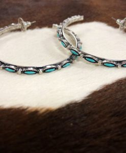 Turquoise & Antique Silver Hoop Earrings