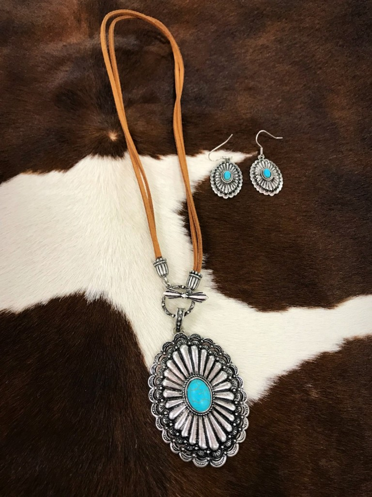 Turquoise Poncho & Leather Toggle Necklace Set