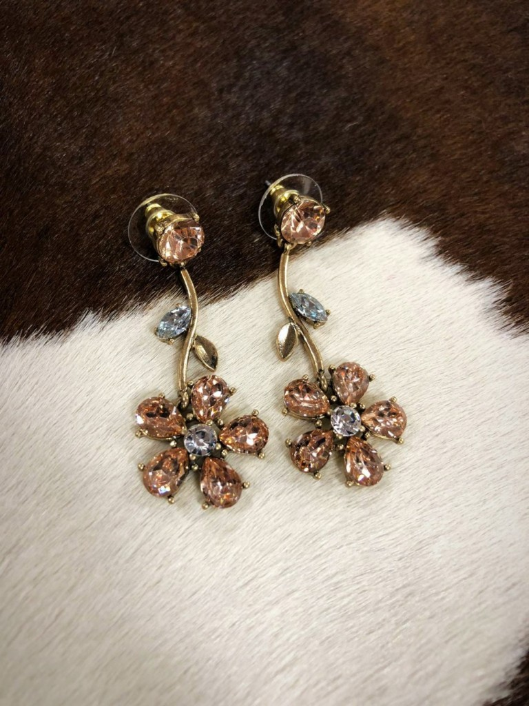 """"""" Spring Crystal """" Fashion Earrings  ( Clear Copper )"""