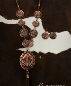 Concho & Tassel Statement Necklace Set ( Copper )