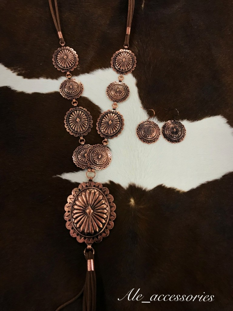 Concho & Tassel Statement Necklace Set ( Copper )
