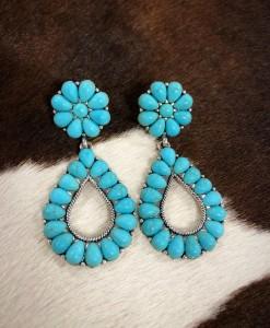Turquoise Floral / Teardrop Earrings
