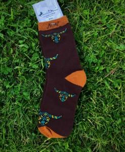 brown steer head sock