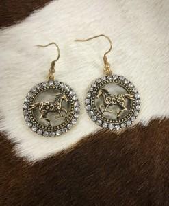 Rhinestone Circle & Horse Earrings ( Gold )