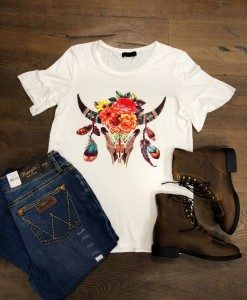 BOHO BULL SKULL GRAPHIC TOP