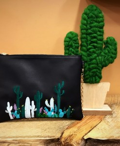 embroidery cactus clutch