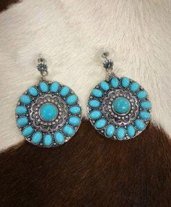 Flower Stud Drop Earrings ( Turquoise )