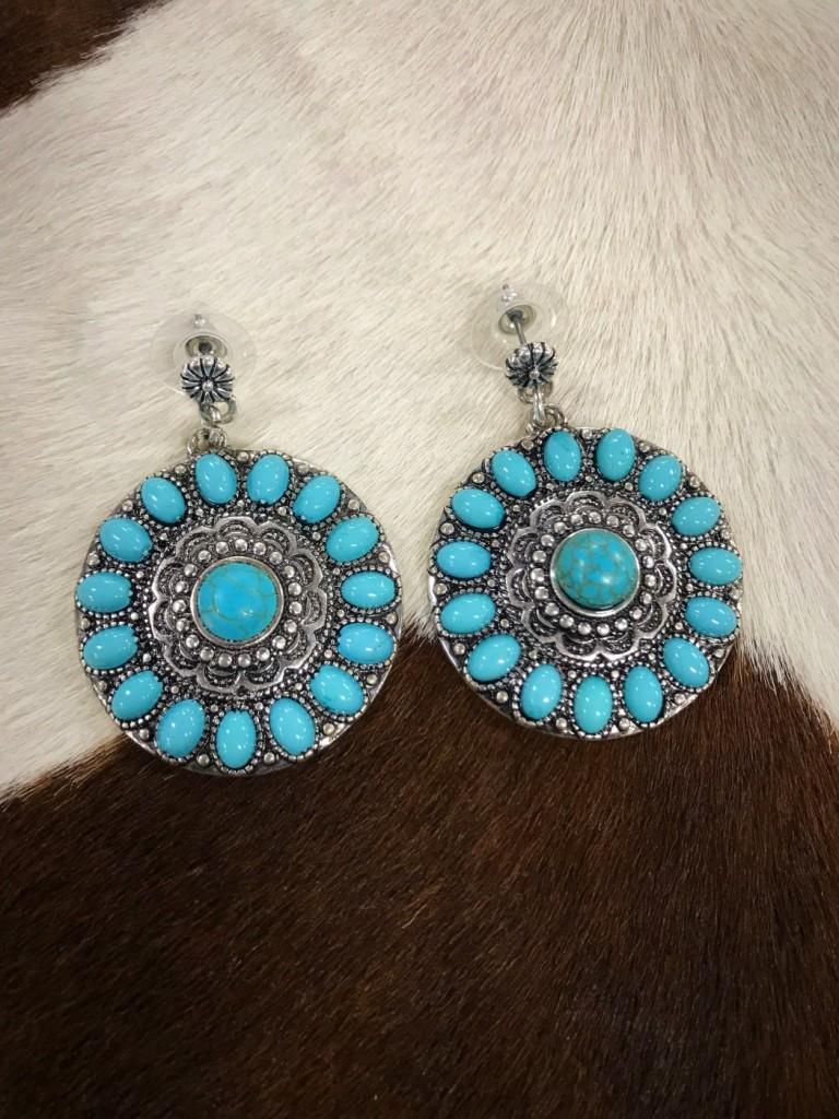 Flower Stud Drop Earrings ( Turquoise )