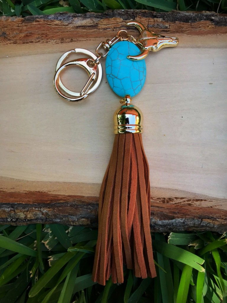 Turquoise Stone & Leather Tassel Charm Keychain