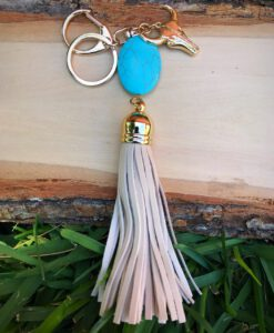 turquoise leather tassel keychain