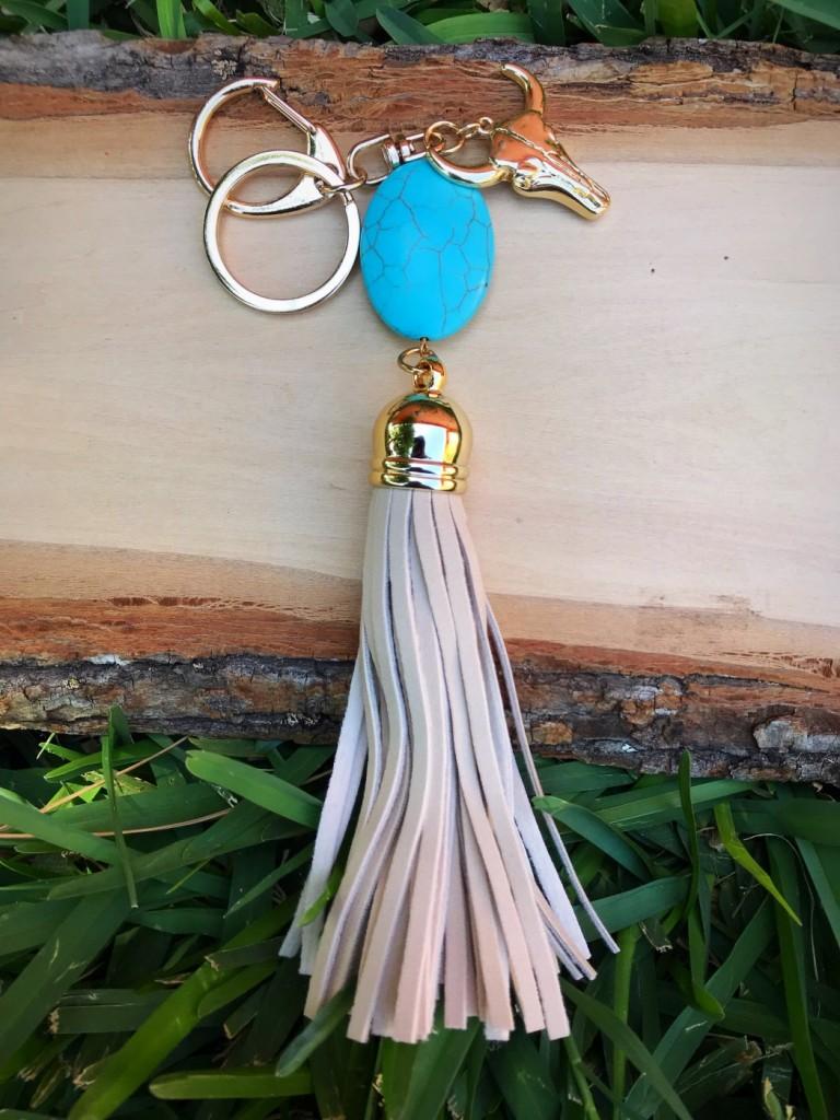 turquoise leather tassel keychain