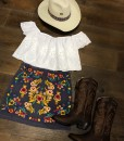 mini embroidery skirt