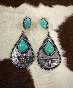 Longhorn Teardrop Earrings ( Turquoise )