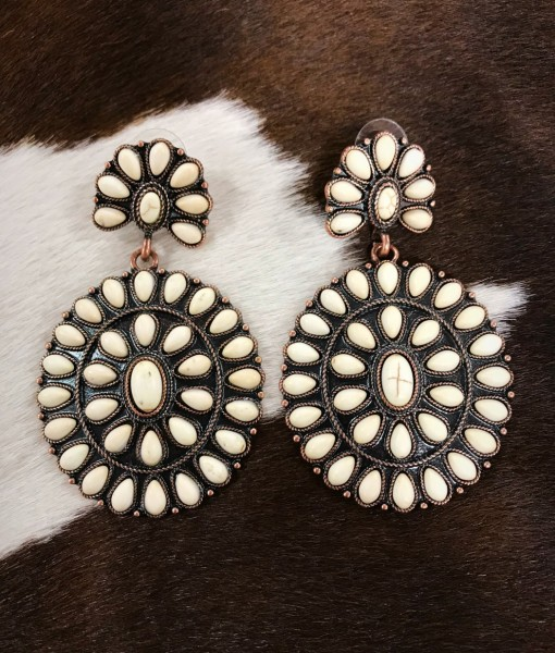 floral concho earrings