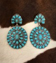 Floral Concho Earrings ( Turquoise )
