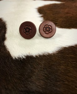 Floral Leather Stud Earrings ( Chocolate )