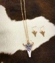 """ Aztec "" Print Bull Skull Necklace Set"