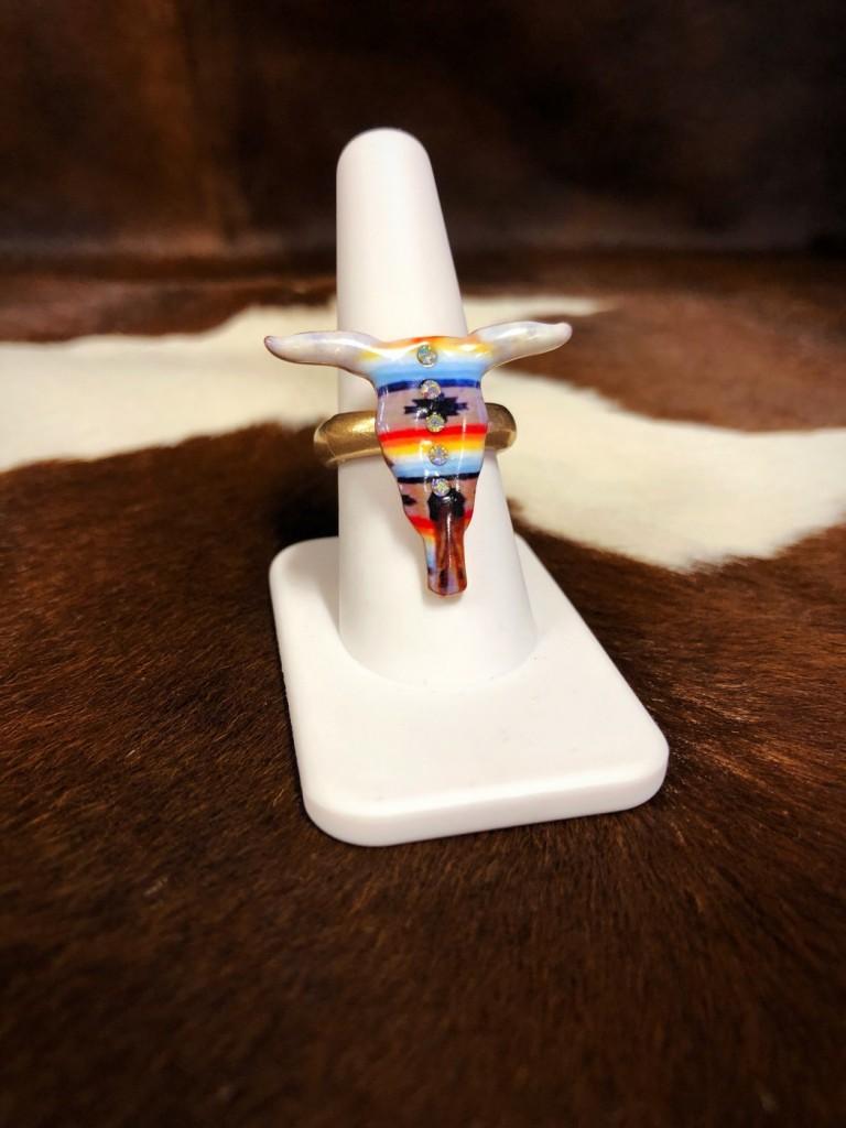 bull skull stretch ring