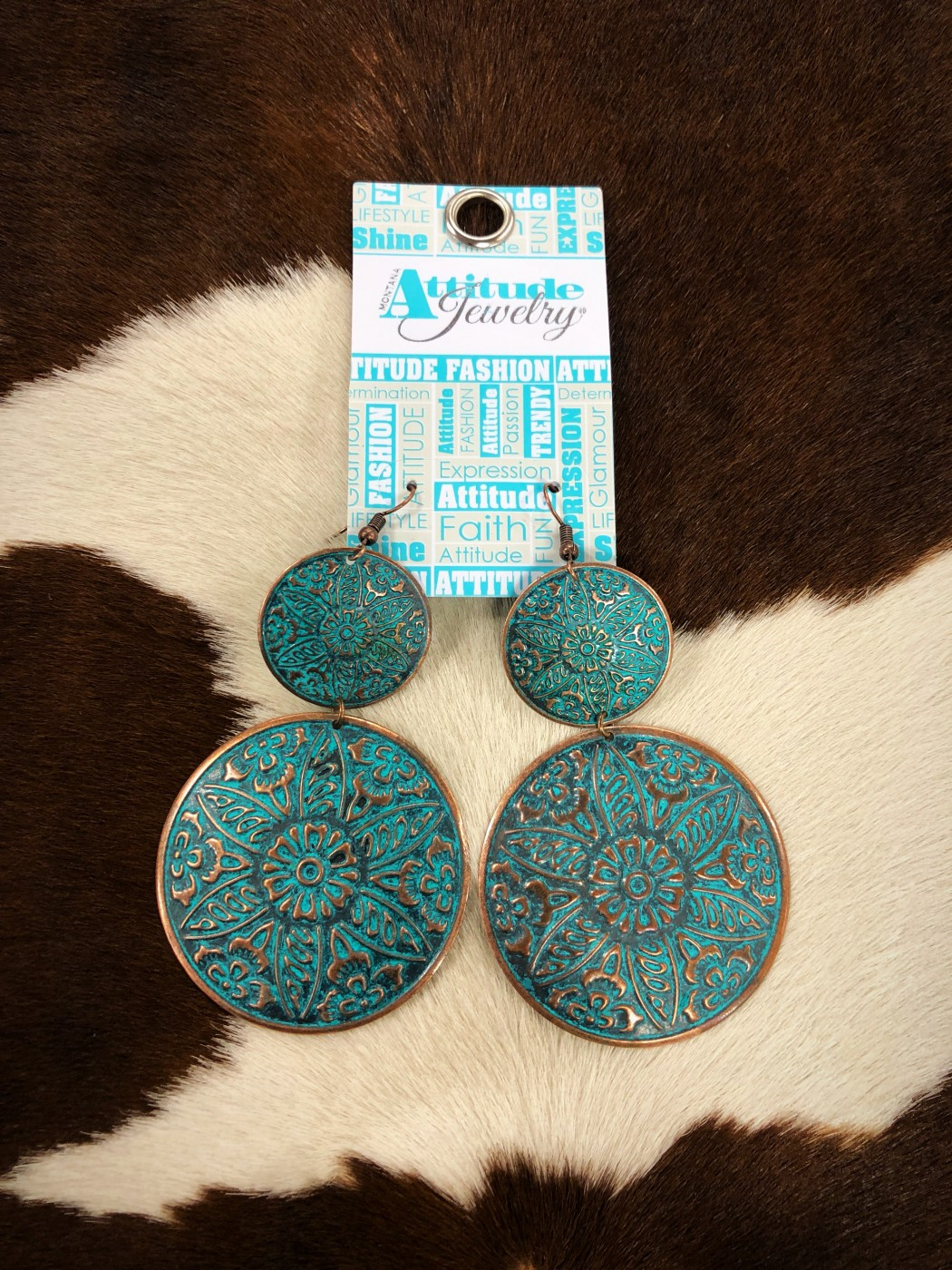 Attitude Jewelry Double Patina Coppered Concho Earrings